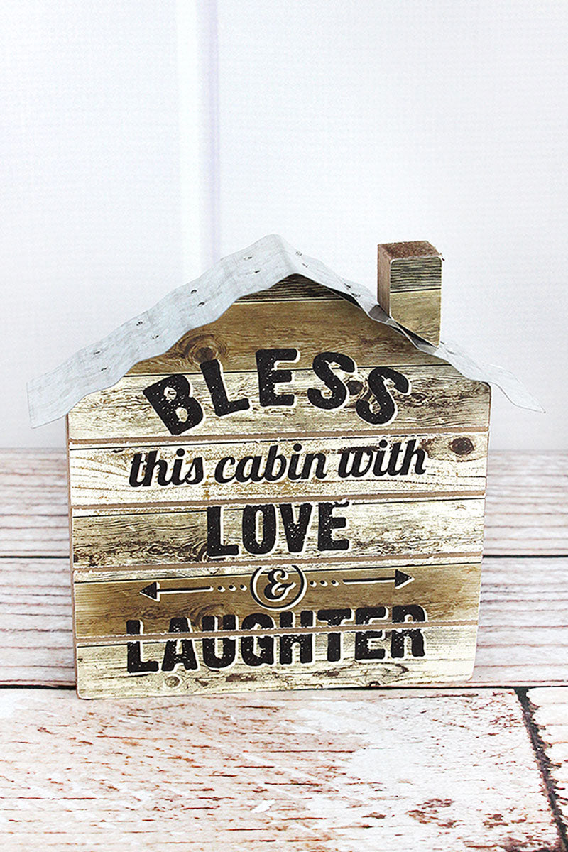 6 x 6.5 'Love & Laughter' Wood and Tin Block Cabin