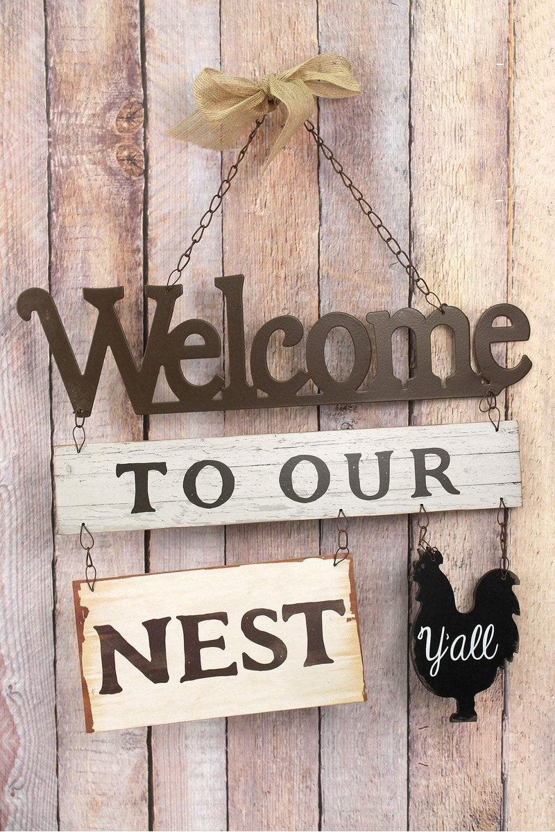 14.5 x 16.25 'Welcome To Our Nest Y'all' Wood and Metal Wall Hanging