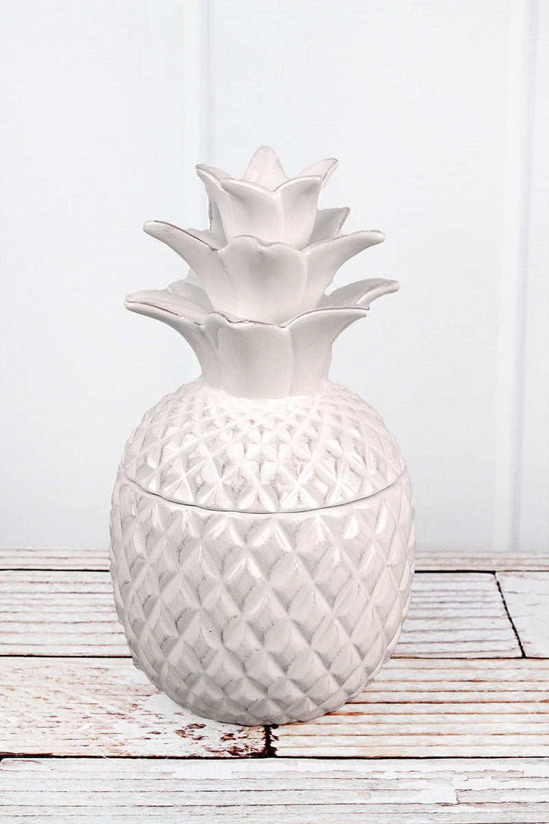 Ceramic Pineapple Canister, 11""