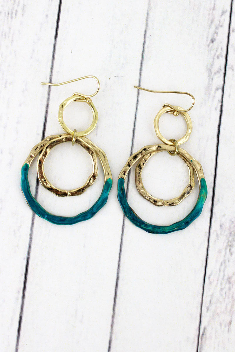 SALE! Crave Goldtone and Patina Multi-Circle Earrings