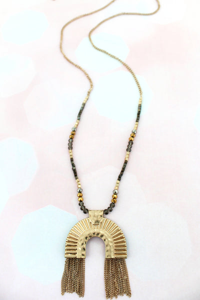 SALE! Goldtone Chain Fringed Luxor Pendant Beaded Necklace