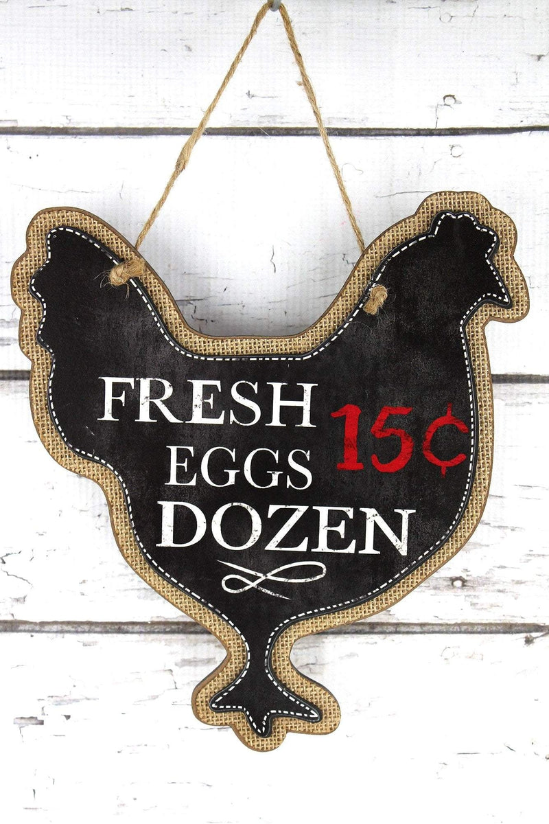 10.75 x 9.75 'Fresh Eggs' Chicken Wood Sign