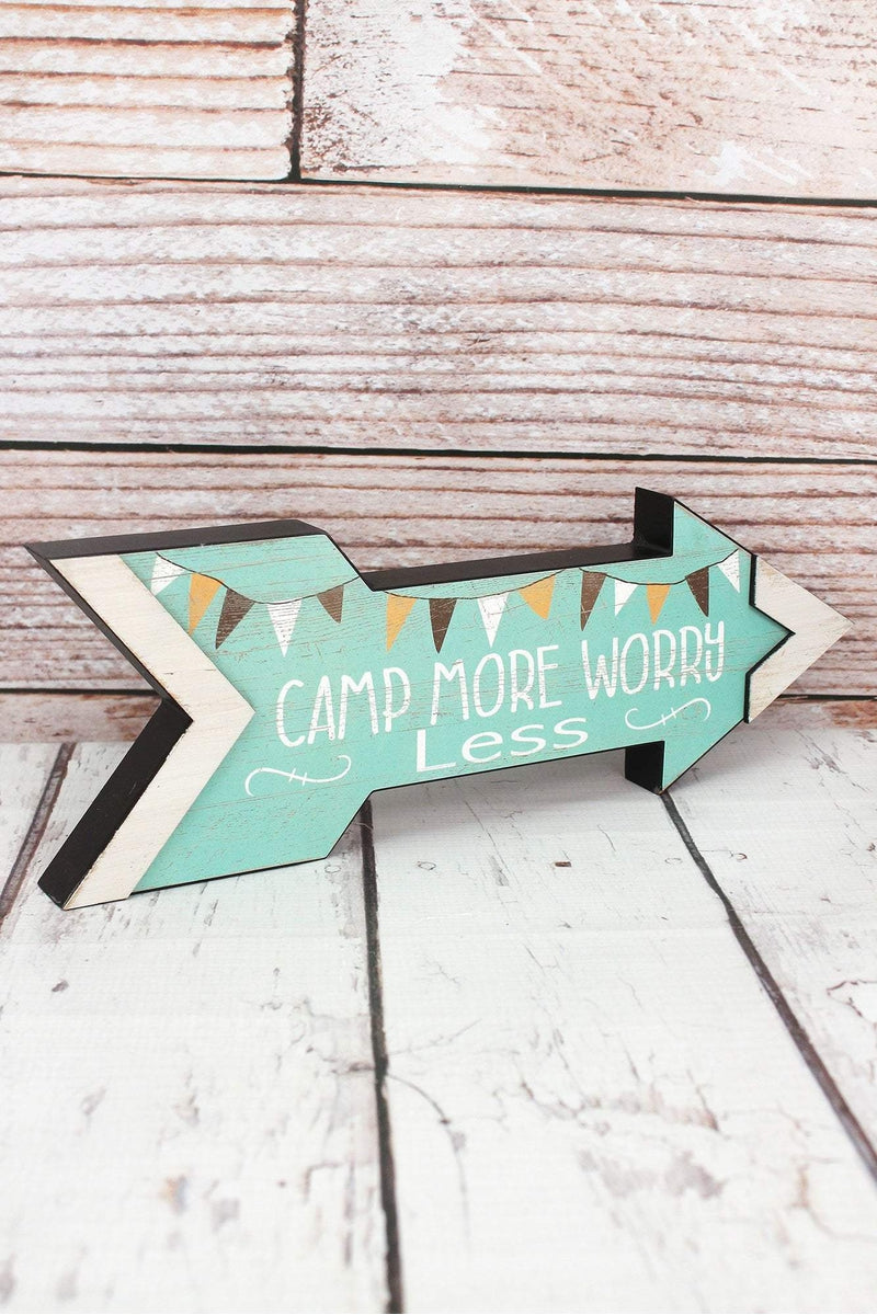 5 x 14 'Camp More Worry Less' Wood Arrow Sign