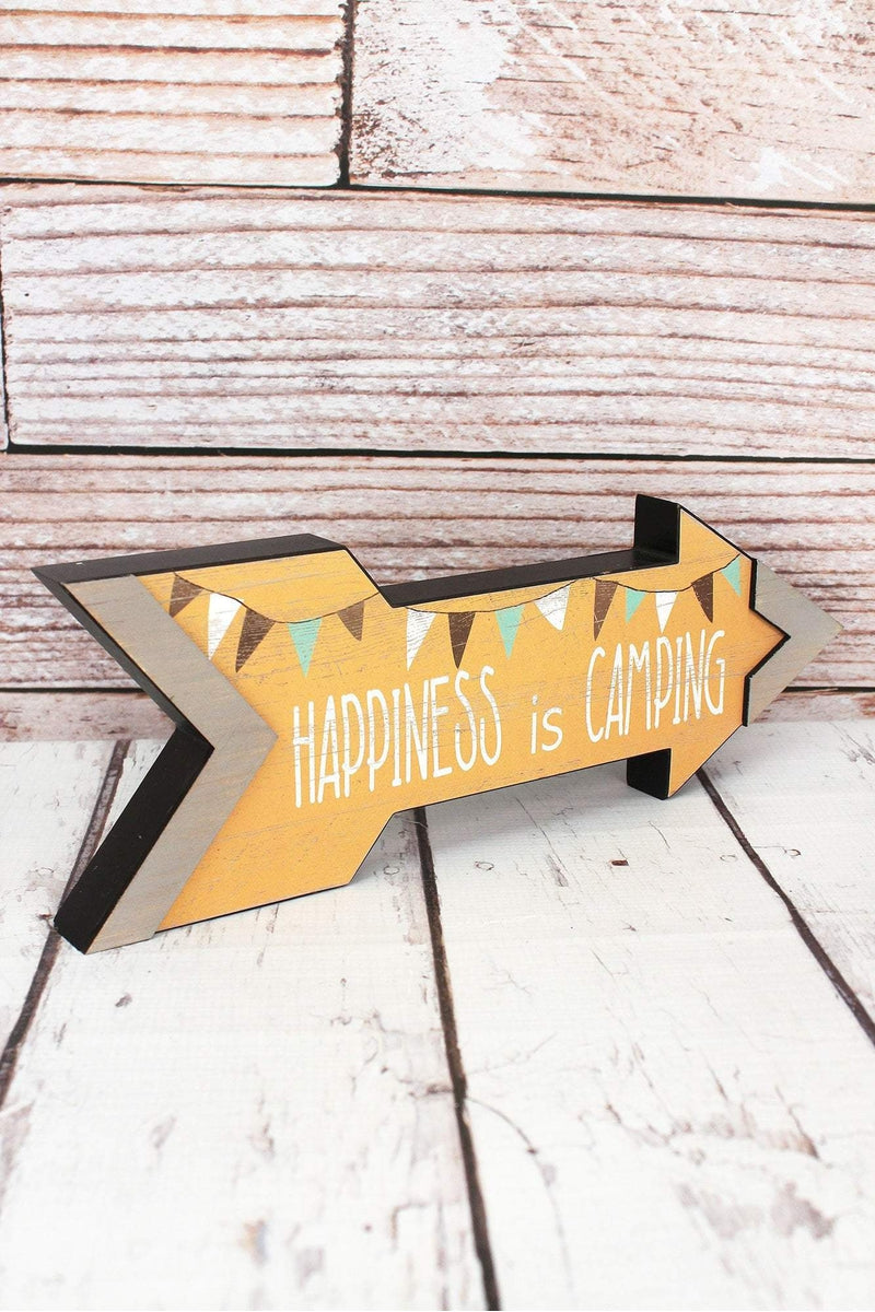 5 x 14 'Happiness Is Camping' Wood Arrow Sign