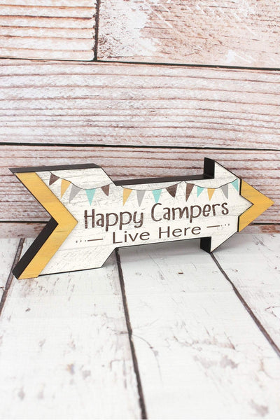 5 x 14 'Happy Campers Live Here' Wood Arrow Sign