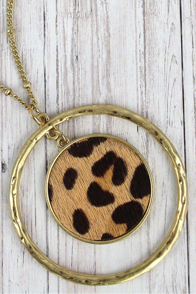 Crave Goldtone Circle and Leopard Disk Pendant Necklace