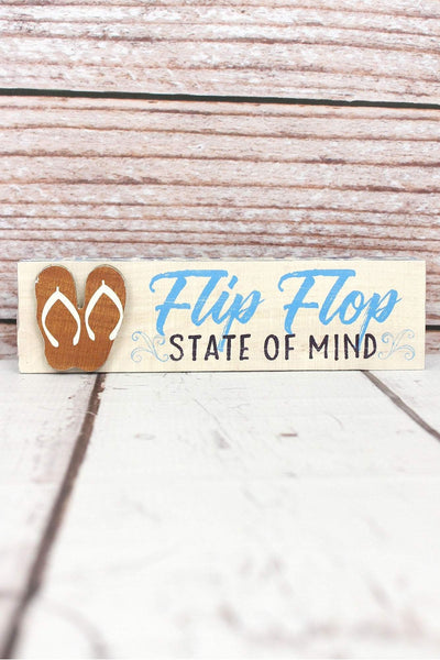 2 x 7.5 'Flip Flop State of Mind' Wood Tabletop Block