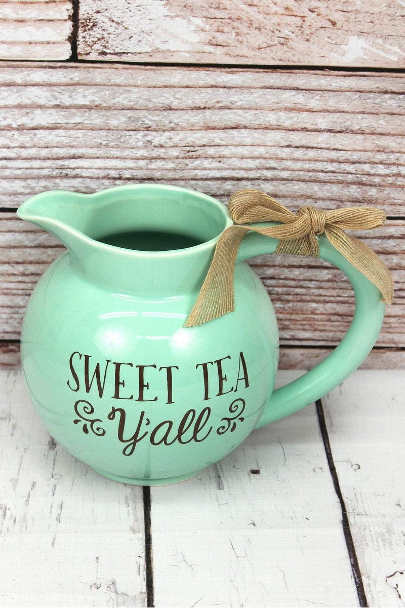 Ceramic 'Sweet Tea Y'all' Tea Pitcher with Burlap Bow, 7""