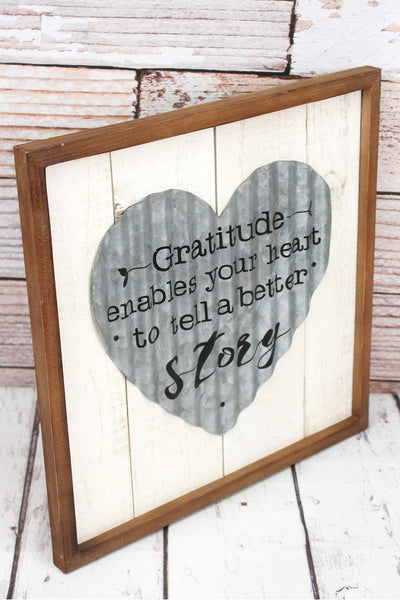 14 x 14 'Gratitude' Framed Tin Heart and Wood Wall Sign