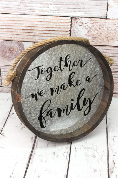 13.5 x 13.5 'Together' Metal and Wood Barrel Wall Sign