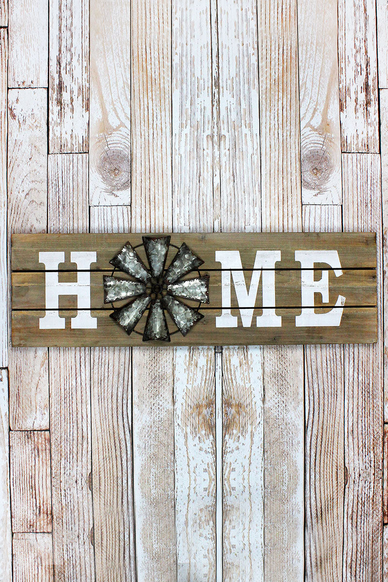 11.75 x 38.25 'Home' Wood with Metal Windmill Wall Sign