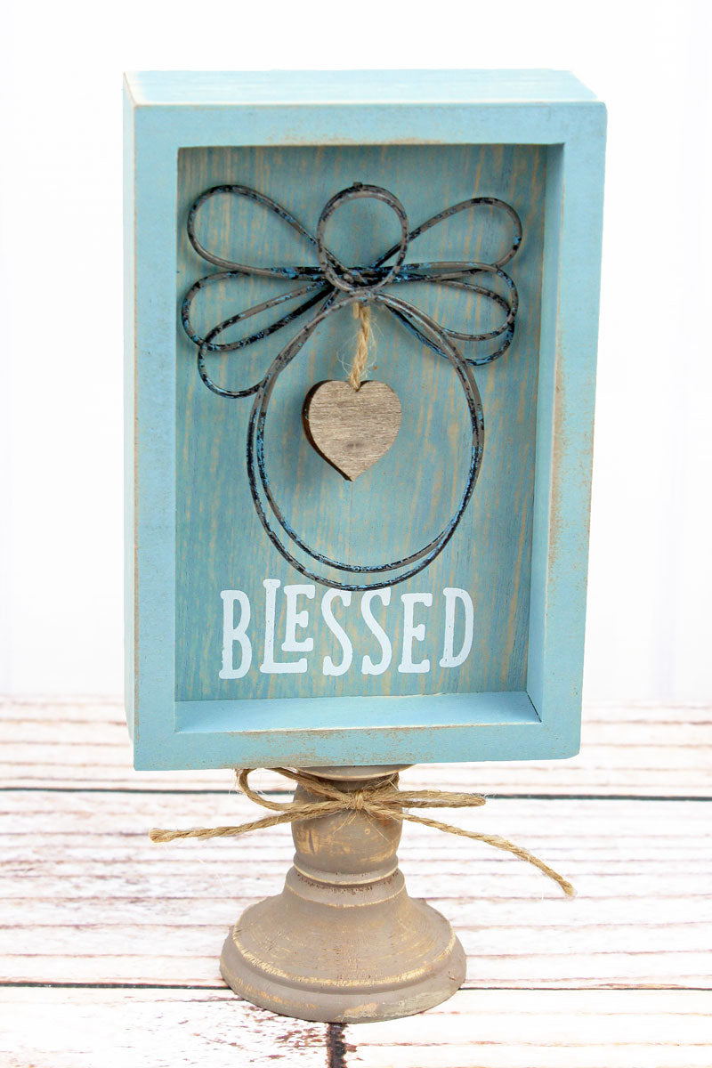 8.5 x 4 'Blessed' Wood With Wire Angel Pedestal Sign