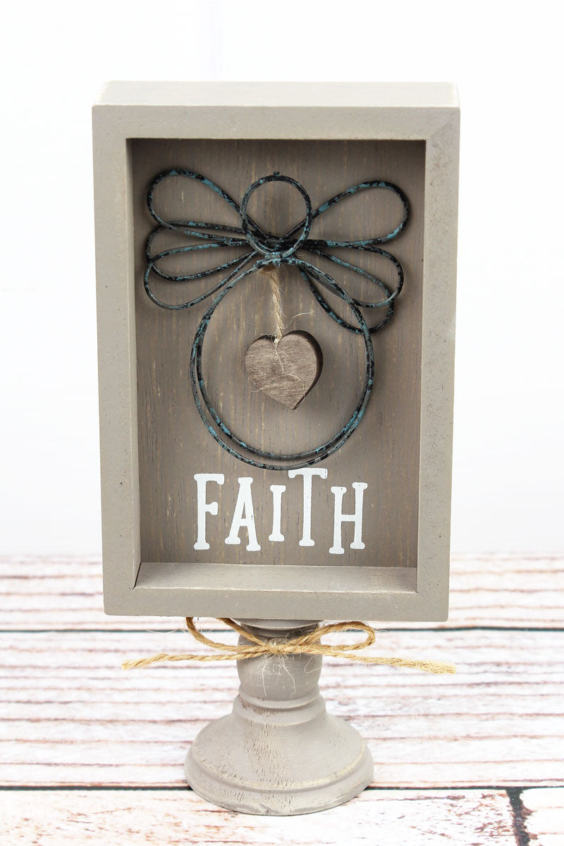 8.5 x 4 'Faith' Wood With Wire Angel Pedestal Sign
