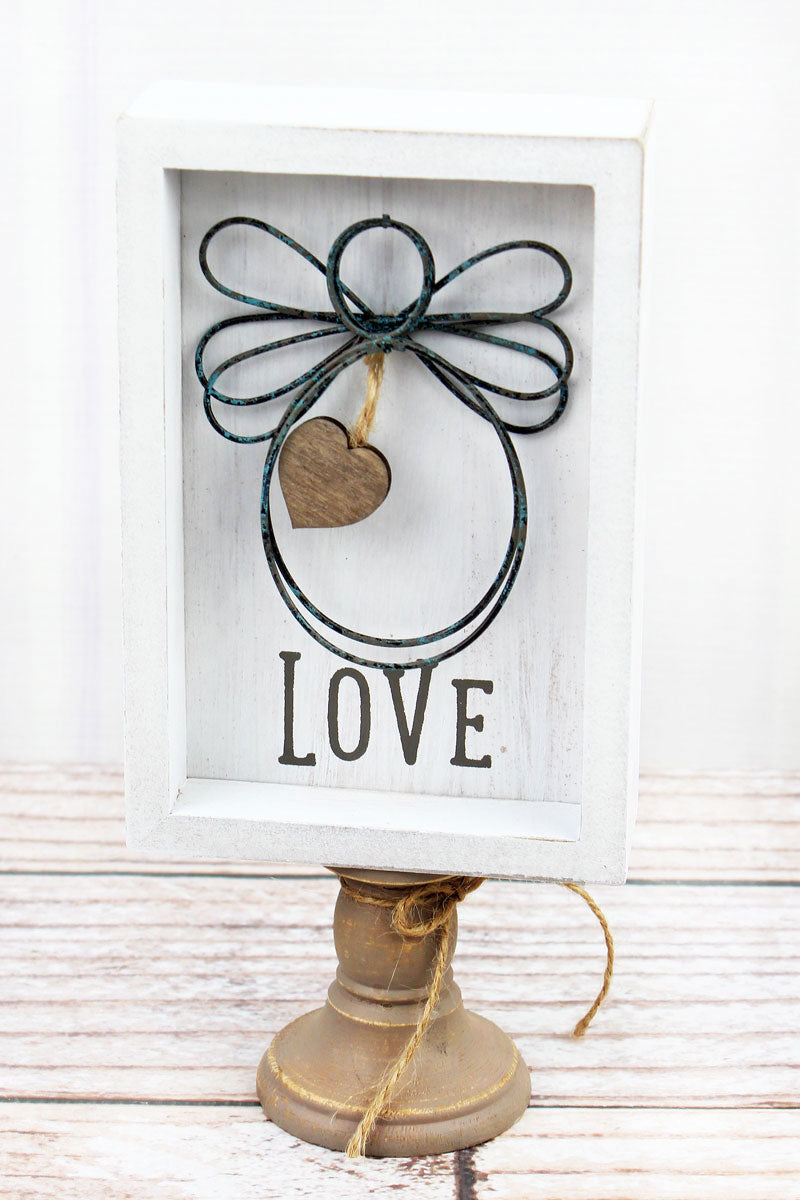 8.5 x 4 'Love' Wood With Wire Angel Pedestal Sign