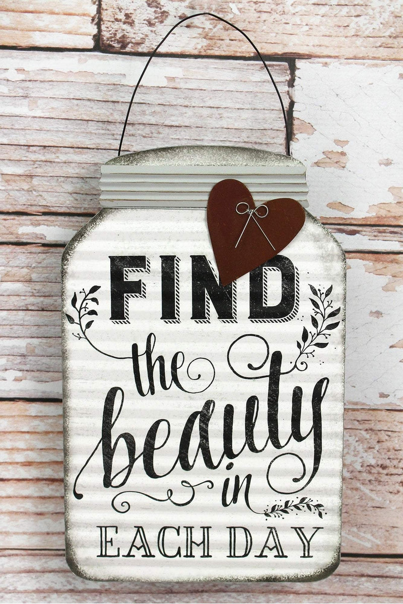 11.5 x 7.25 'Find The Beauty' Tin Mason Jar with Heart Wall Sign