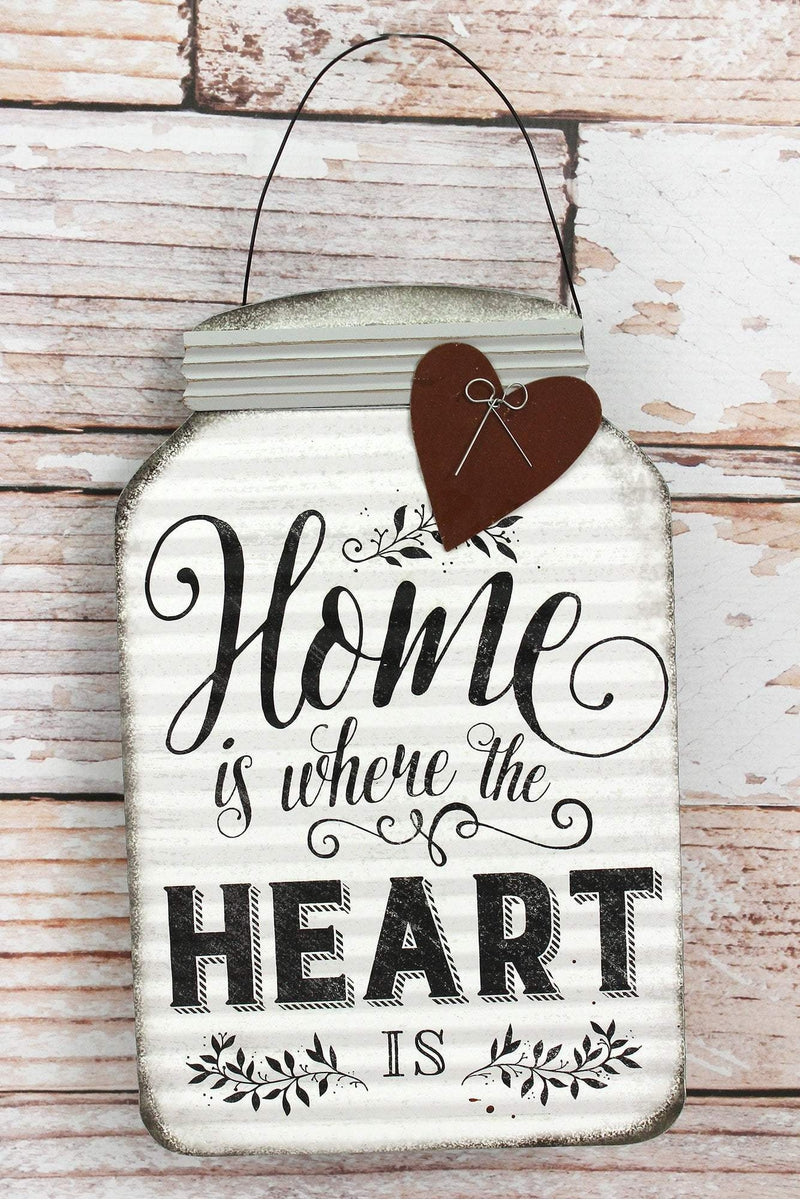 11.5 x 7.25 'Home' Tin Mason Jar with Heart Wall Sign