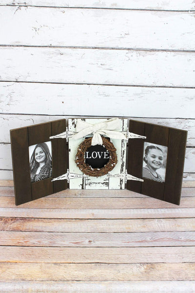 11 x 25.5 'Love' Wood with Wreath Double 4x6 Photo Frame