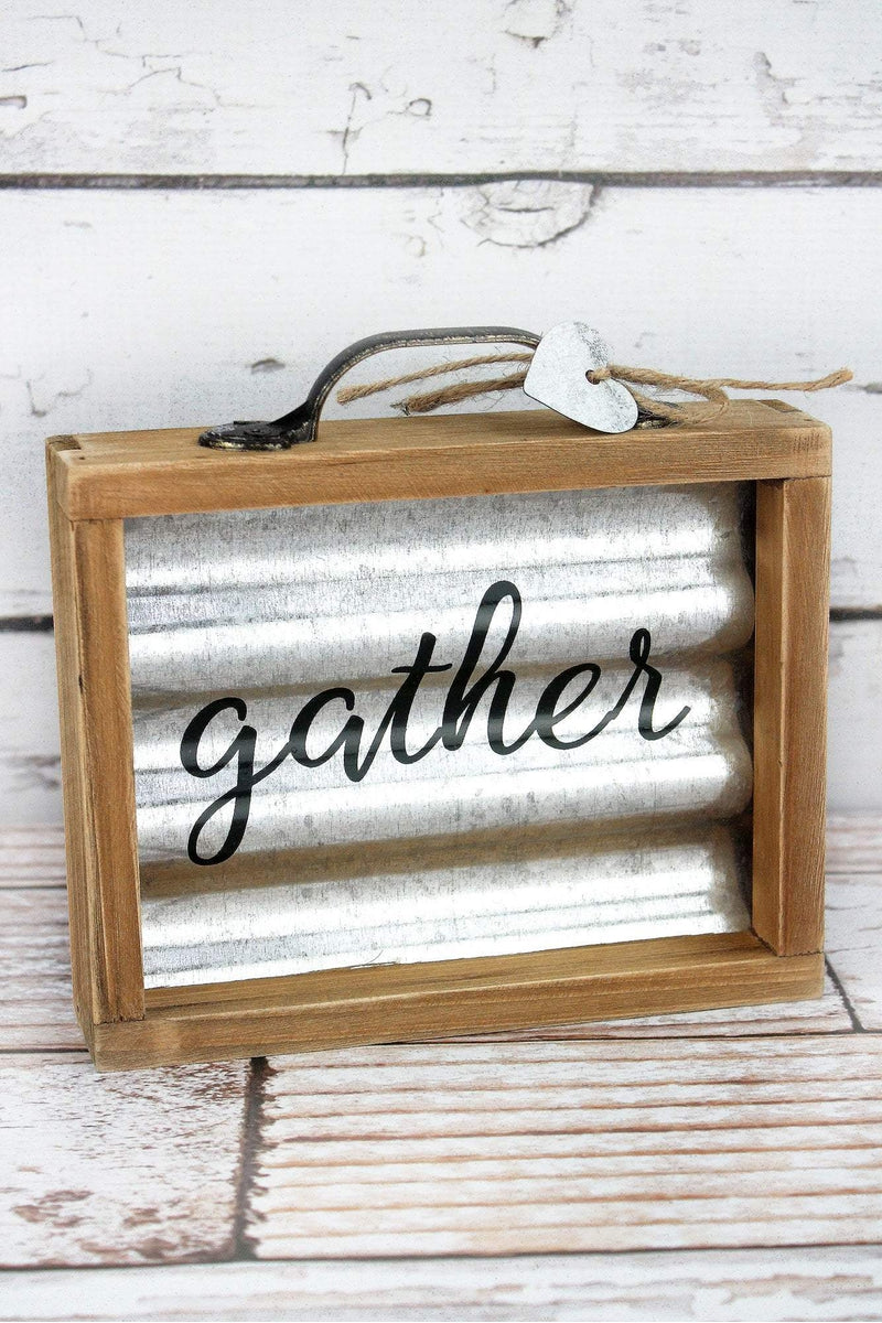 6.25 x 6.75 'Gather' Wood Framed Metal Box Sign