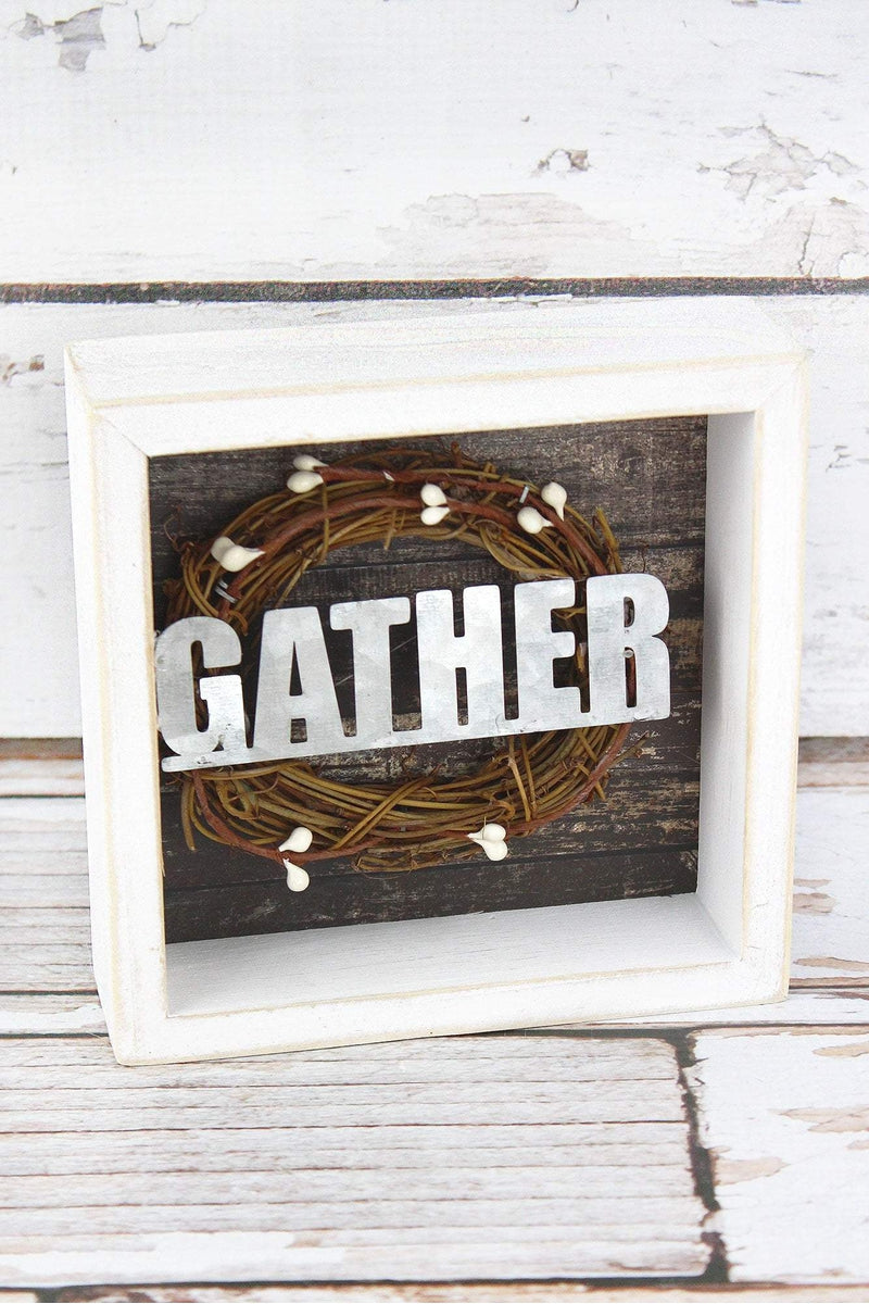 6 x 6 'Gather' Wreath Framed Wood Box Sign