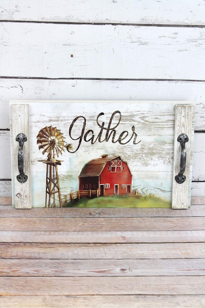 9.5 x 15.75 'Gather' Barn Wood Tray