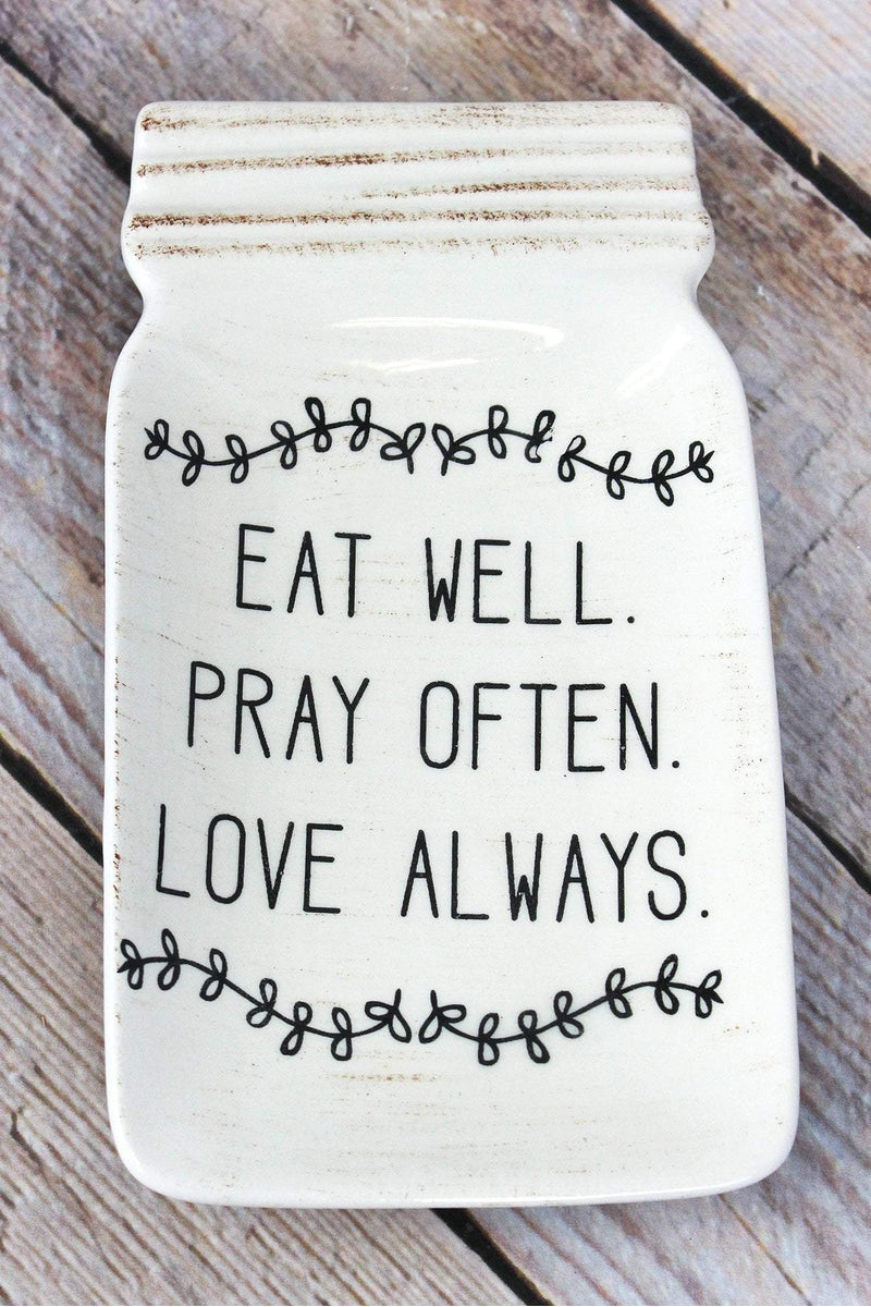 6.75 x 3.75 Ceramic 'Eat Well. Pray Often. Love Always.' Mason Jar Dish