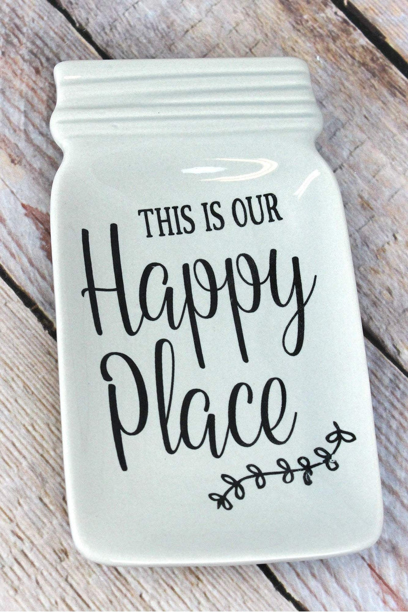 6.75 x 3.75 Ceramic 'This Is Our Happy Place' Mason Jar Dish