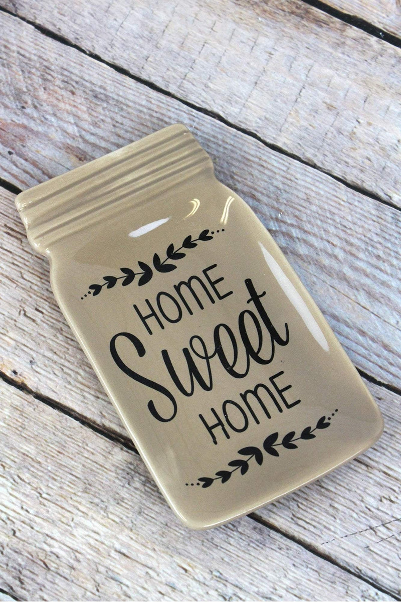 6.75 x 3.75 Ceramic 'Home Sweet Home' Mason Jar Dish