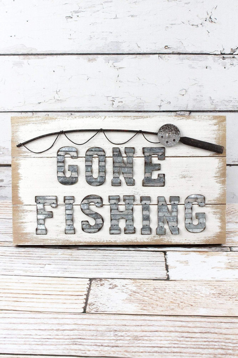9.5 x 15.75 'Gone Fishing' Wood and Tin Wall Sign