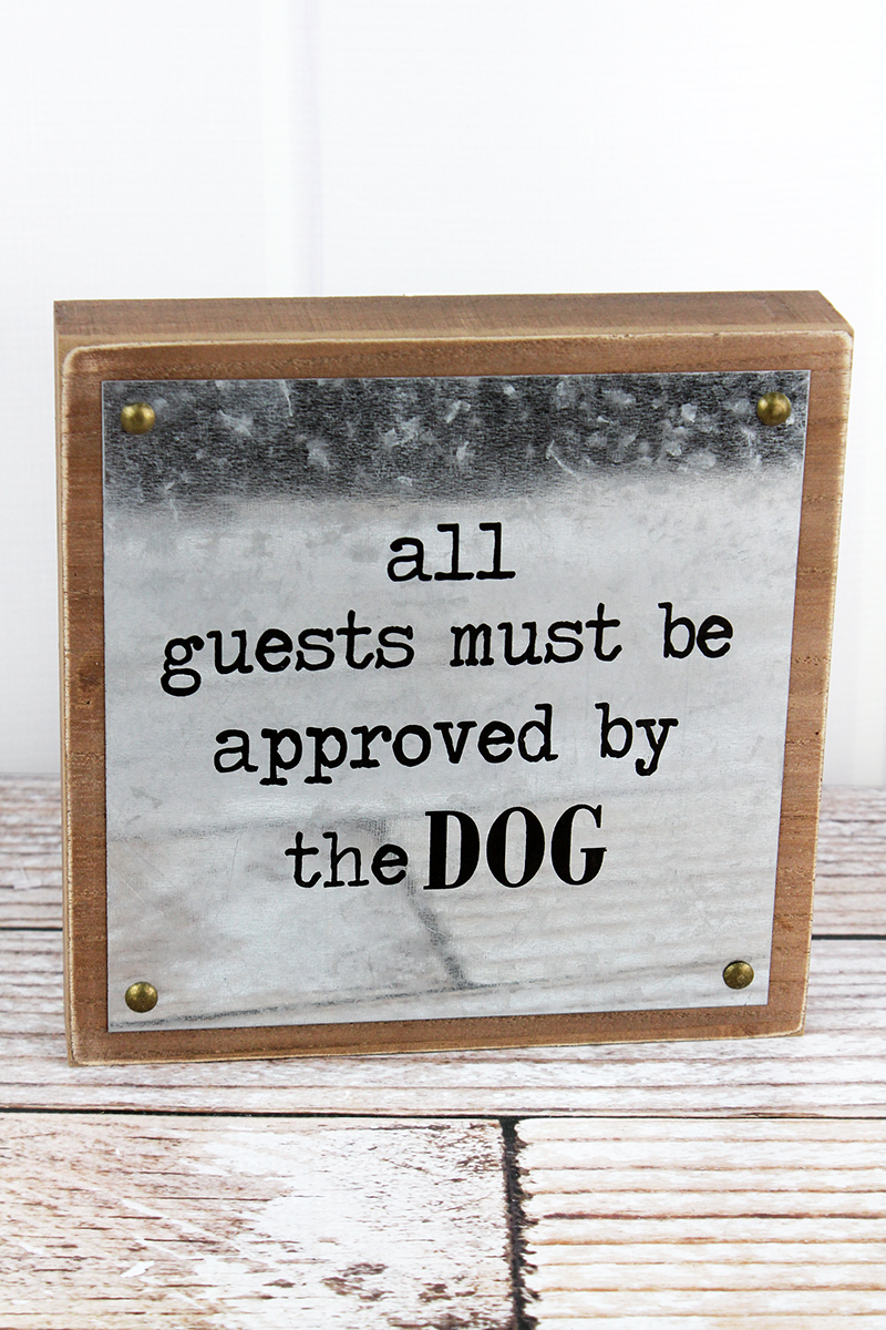 8 x 8 'Approved By The Dog' Wood and Tin Wall Box Sign