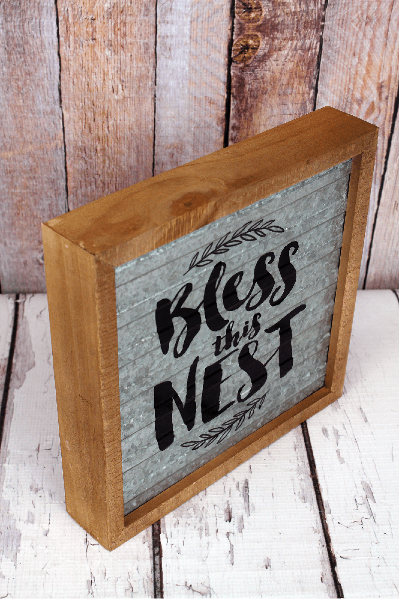 10.25 x 10 'Bless This Nest' Wood Framed Tin Wall Sign