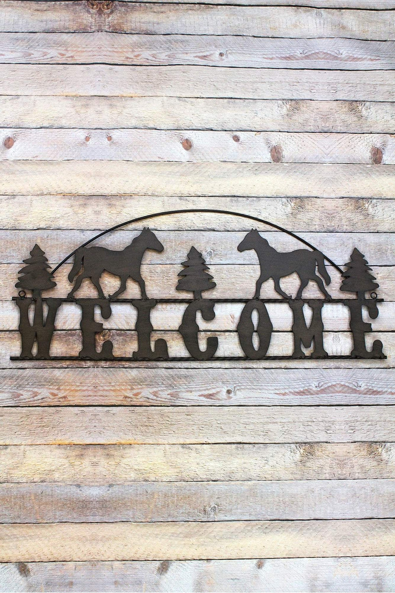 13 x 31 Cut-Out Metal Horse 'Welcome' Sign