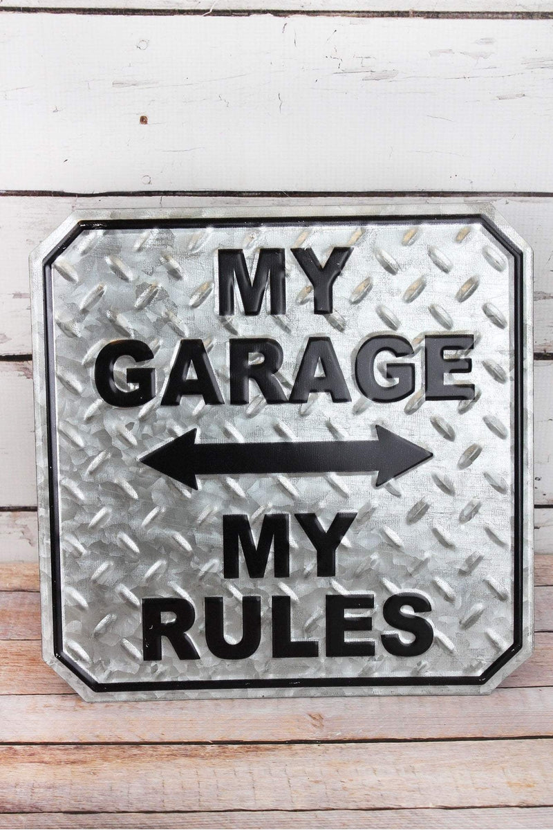 12 x 12 'My Garage My Rules' Punched Tin Wall Sign