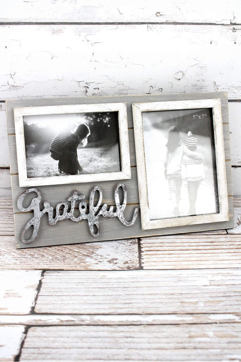 8.5 x 13.5 \'Grateful\' Wood 4x6 and 5x7 Double Photo Frame ...