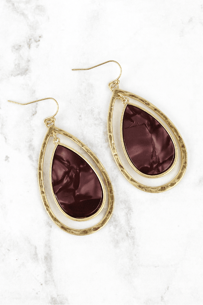 Crave Maroon Resin and Goldtone Double Teardrop Earrings