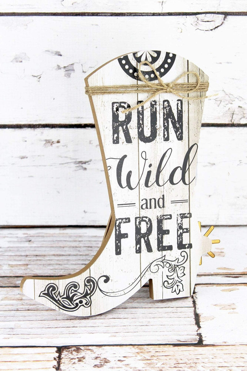 10 x 8.25 'Run Wild And Free' Wood Cowgirl Boot