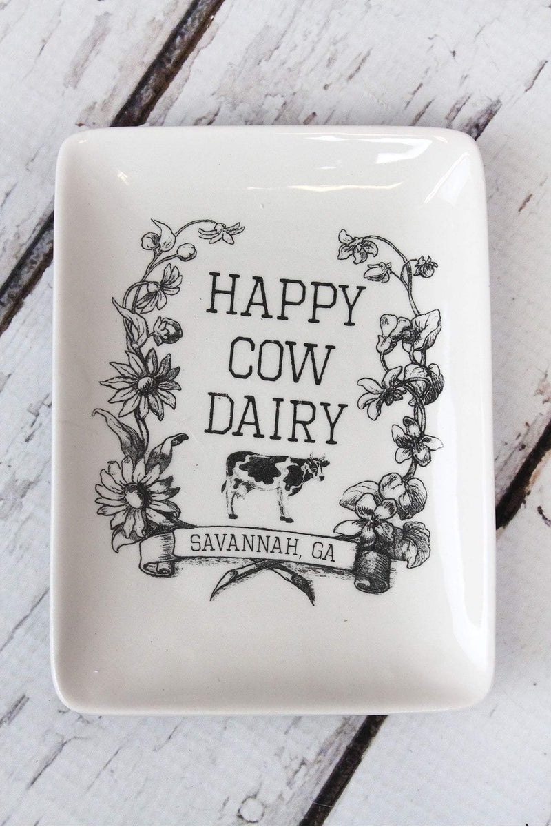 5.25 x 4 'Happy Cow Dairy' Ceramic Trinket Tray