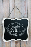 11.75 x 13 'Happy Cows' Framed Wood Wall Sign