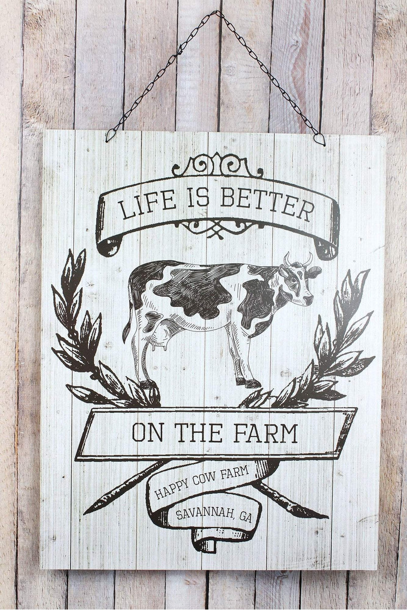 26 x 20.25 'Life Is Better' Cow Wood Wall Sign