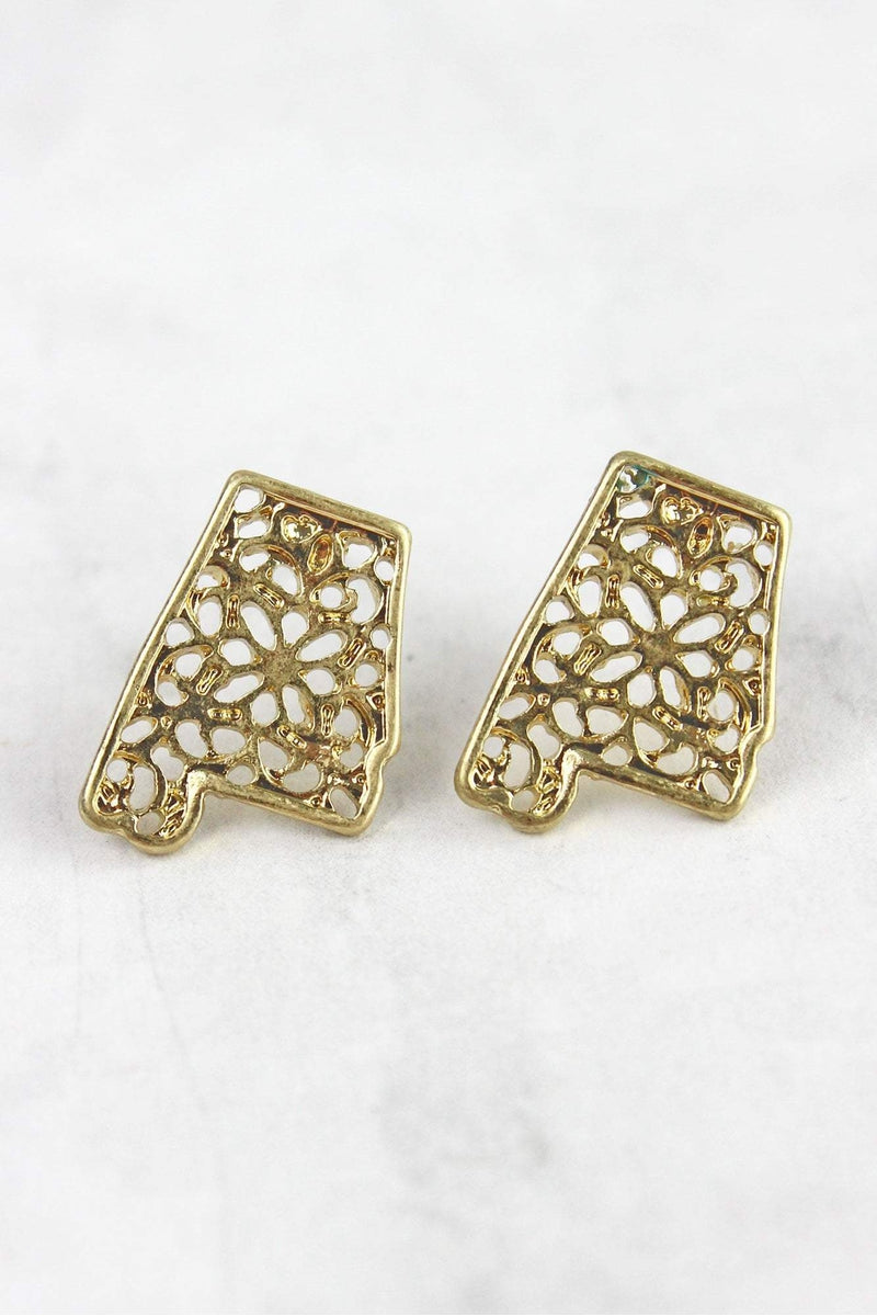 Crave Goldtone Filigree Alabama Stud Earrings