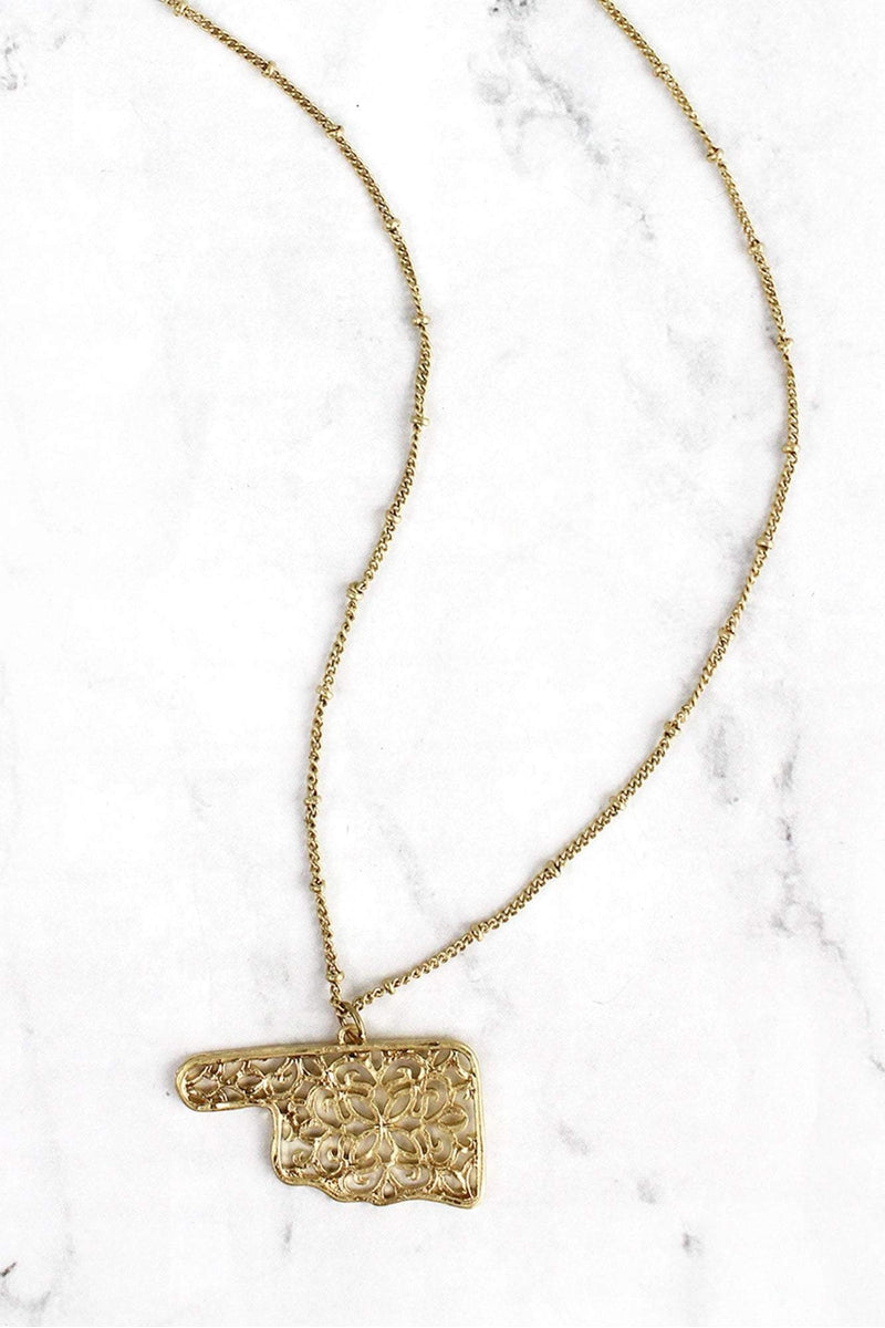 Crave Goldtone Filigree Oklahoma Long Necklace