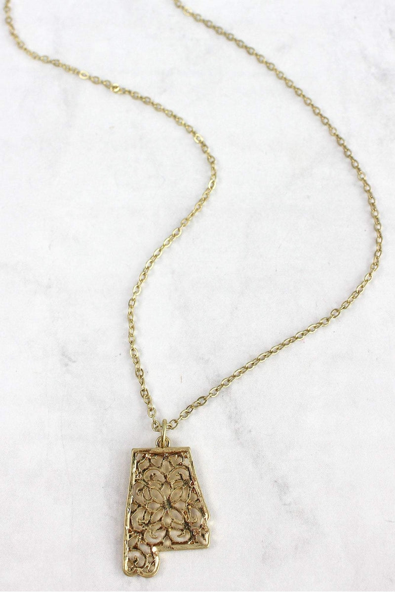 Crave Goldtone Filigree Alabama Necklace