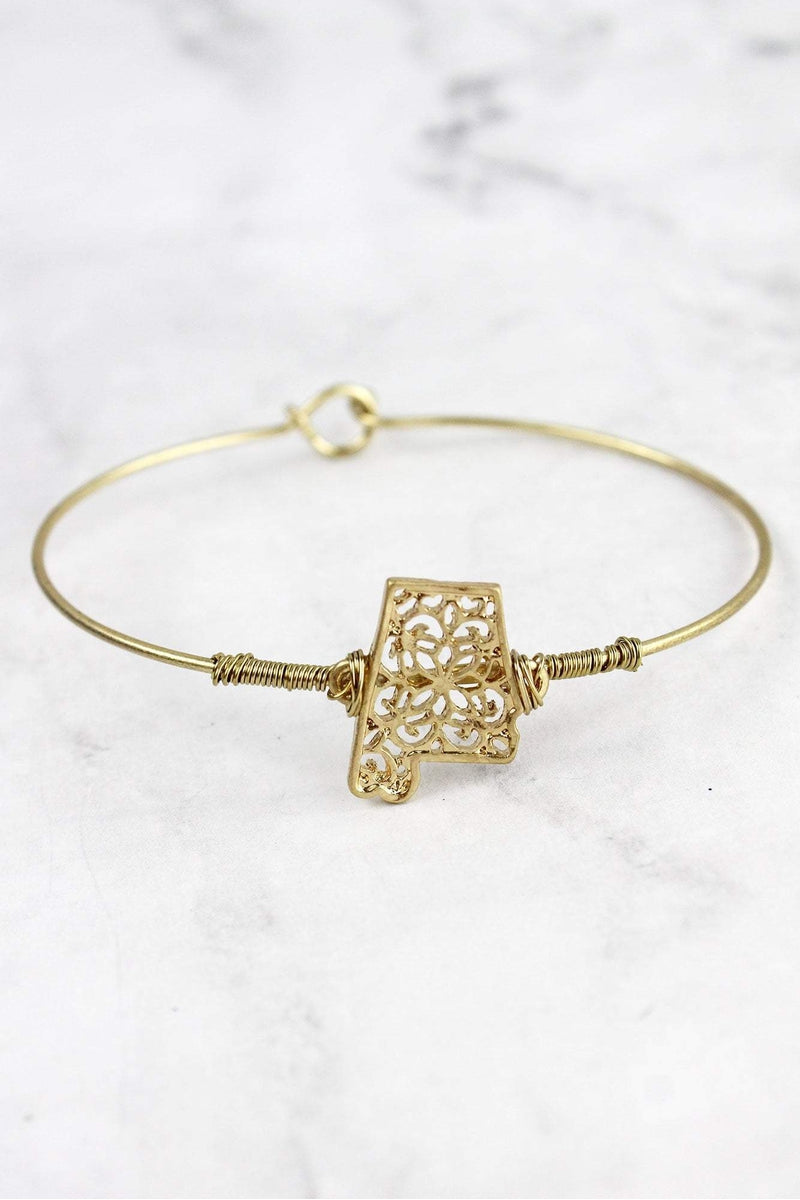Crave Goldtone Filigree Alabama Bangle