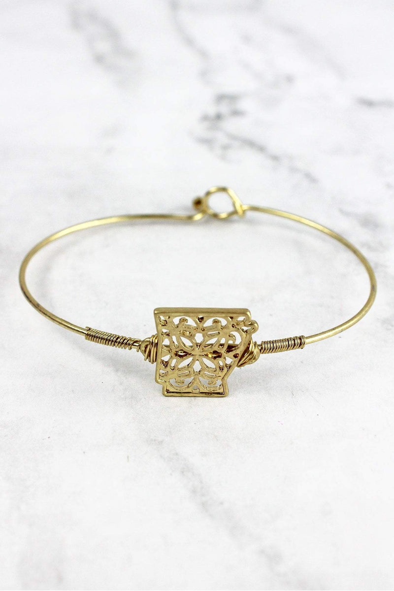 Crave Goldtone Filigree Arkansas Bangle