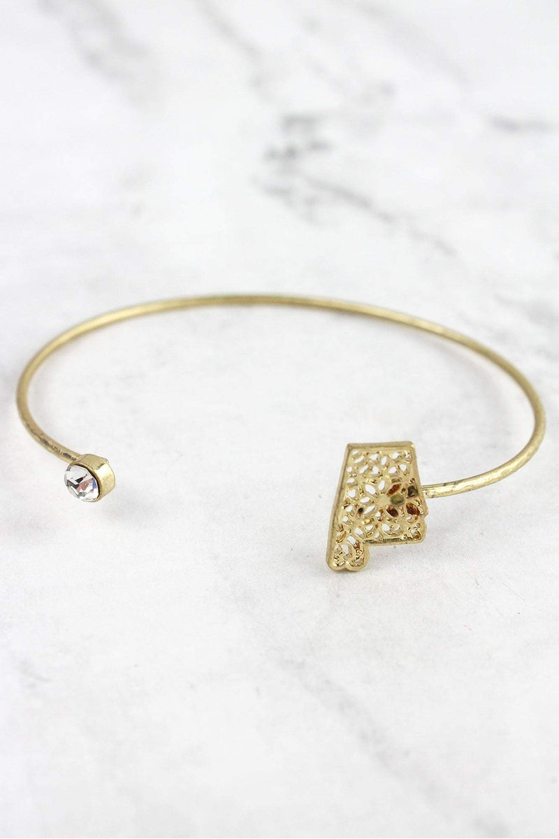 Crave Goldtone Filigree Alabama and Crystal Bangle