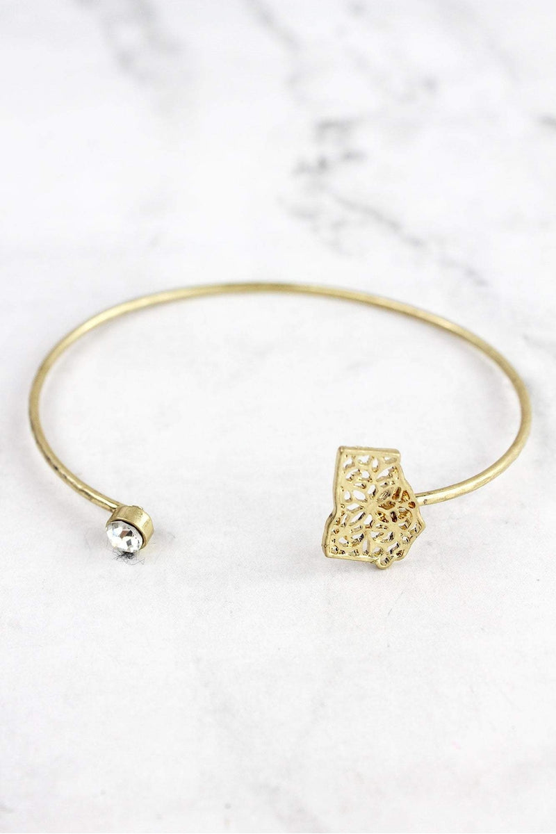 Crave Goldtone Filigree Georgia and Crystal Bangle