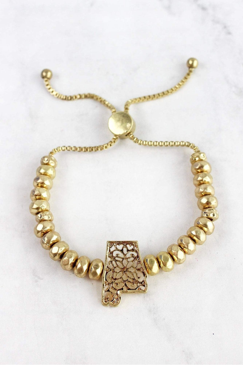 Crave Goldtone Filigree Alabama Beaded Bolo Bracelet