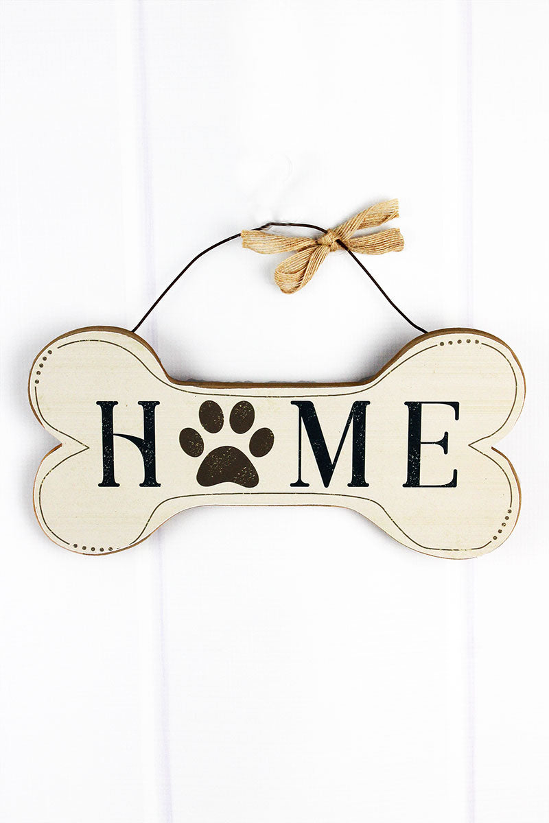 5.75 x 11.75 'Home' Wood Dog Bone Wall Sign