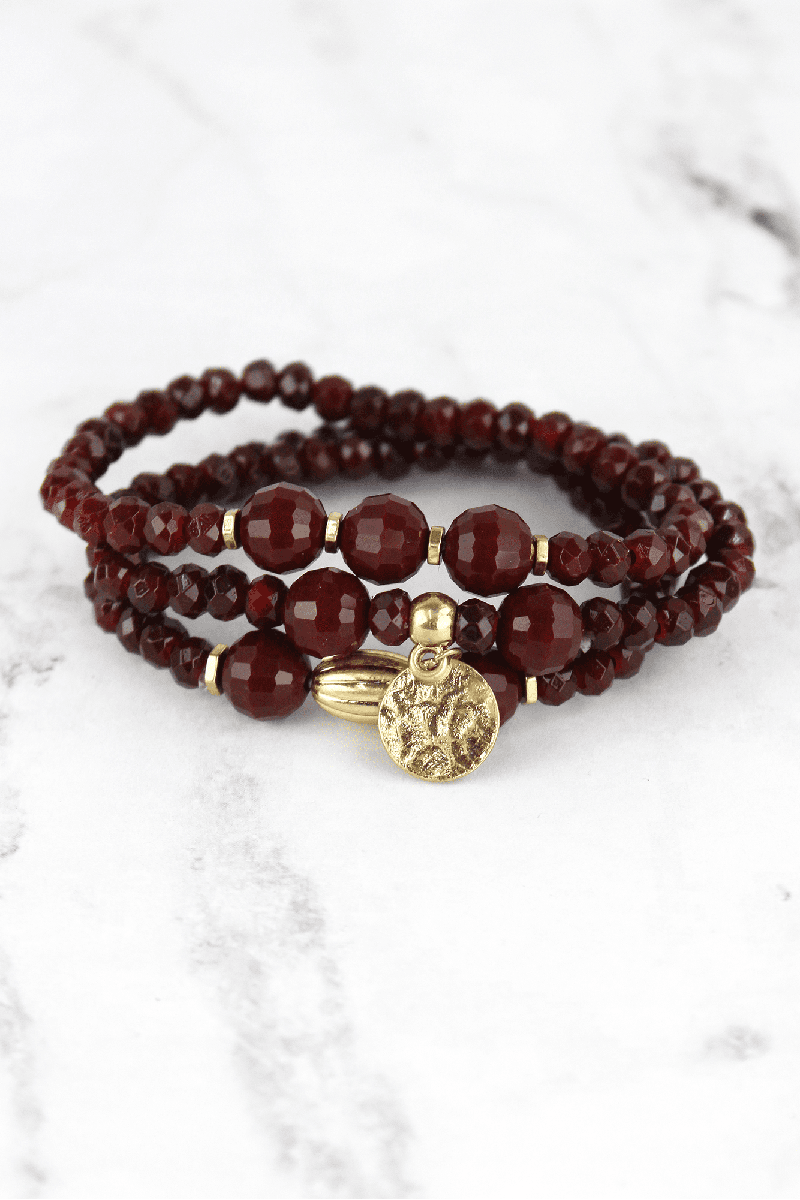 Crave Maroon Beaded Goldtone Disk Charm Bracelet Set
