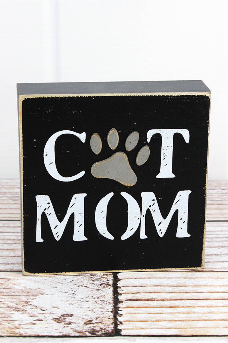 6 x 6 'Cat Mom' Wood Box Sign