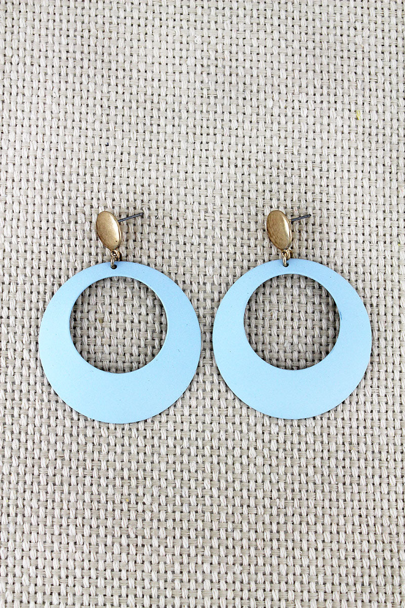 Crave Sky Blue Cut-Out Disk Drop Stud Earrings
